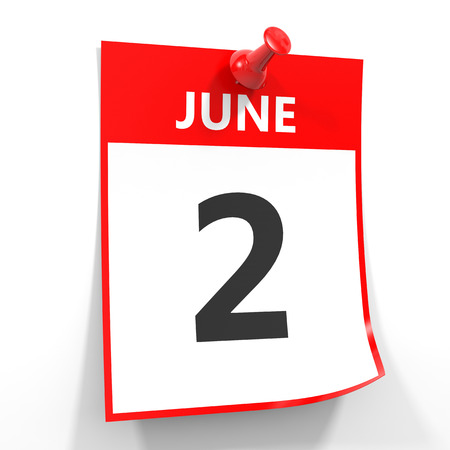 2 june calendar sheet with red pin on white background. Illustration. Stock Photo