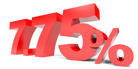 selling points: Red seven point seven five percent off. Discount 7.75 percent. 3D illustration.