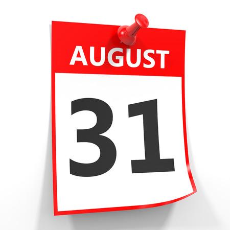 白い背景の赤いピンで 31 8 月カレンダー シート。イラスト。