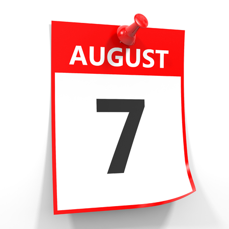 seventh: 7 august calendar sheet with red pin on white background. Illustration. Stock Photo