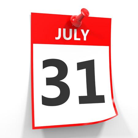 calendario julio: 31 hoja de calendario de julio con la clavija roja sobre fondo blanco. Ilustración.