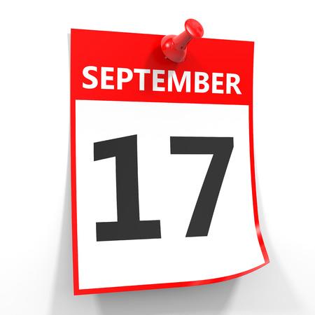 september calendar: 17 september calendar sheet with red pin on white background. Illustration.