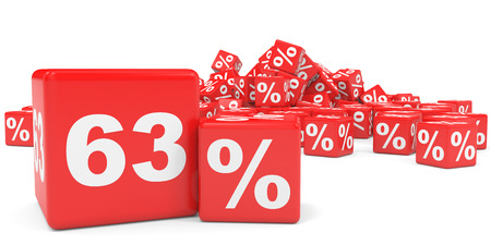 sixty: Red sale cubes. Sixty three percent discount. 3D illustration.