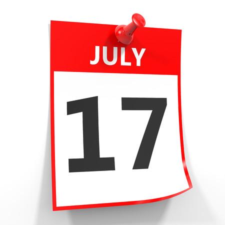 calendario julio: 17 de julio de hoja de calendario con la clavija roja sobre fondo blanco. Ilustración.