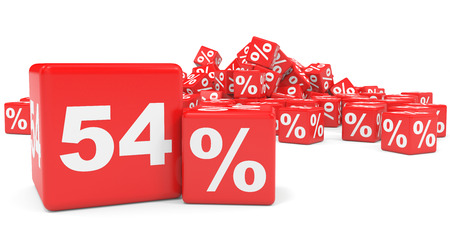 price hit: Red sale cubes. Fifty four percent discount. 3D illustration. Stock Photo