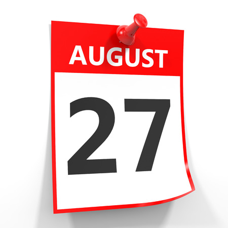 27: 27 august calendar sheet with red pin on white background. Illustration. Stock Photo
