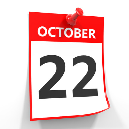 twenty second: 22 october calendar sheet with red pin on white background. Illustration.