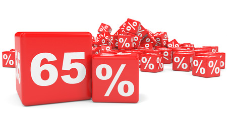 sixty: Red sale cubes. Sixty five percent discount. 3D illustration.