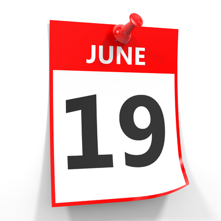 19: 19 june calendar sheet with red pin on white background. Illustration.