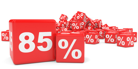 price hit: Red sale cubes. Eighty five percent discount. 3D illustration.