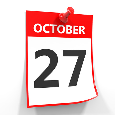 october calendar: 27 hoja de calendario octubre con el pin rojo sobre fondo blanco. Ilustración. Foto de archivo