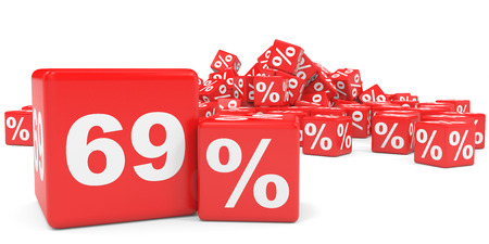 sixty: Red sale cubes. Sixty nine percent discount. 3D illustration. Stock Photo