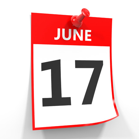 seventeenth: 17 june calendar sheet with red pin on white background. Illustration. Stock Photo