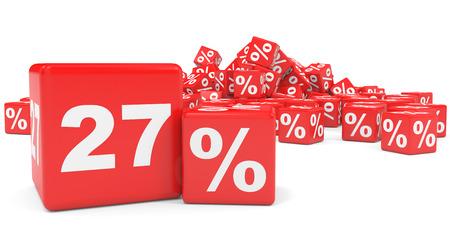 price hit: Red sale cubes. Twenty seven percent discount. 3D illustration. Stock Photo