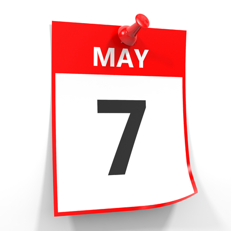 red pin: 7 may calendar sheet with red pin on white background. Illustration.