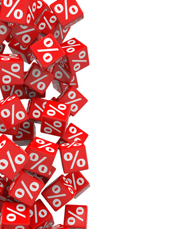 Red discount cubes. 3D illustration. Stock Photo