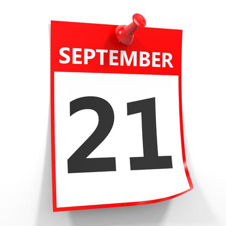 21 september calendar sheet with red pin on white background. Illustration.