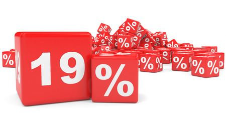 nineteen: Red sale cubes. Nineteen percent discount. 3D illustration.