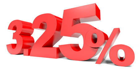 selling points: Red three point two five percent off. Discount 3.25 percent. 3D illustration.