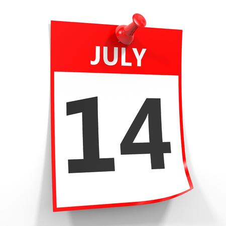 calendario julio: 14 hoja de calendario de julio con la clavija roja sobre fondo blanco. Ilustración.