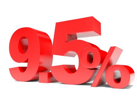 95: Red nine point five percent off. Discount 9.5 percent. 3D illustration.
