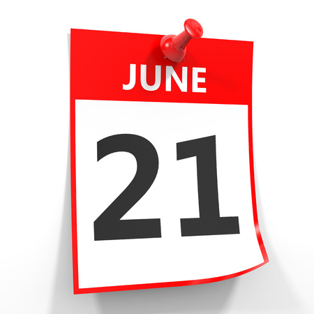 one on one meeting: 21 june calendar sheet with red pin on white background. Illustration.