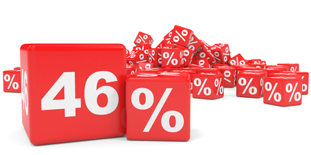 price hit: Red sale cubes. Forty six percent discount. 3D illustration.