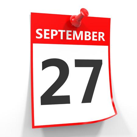 september calendar: 27 september calendar sheet with red pin on white background. Illustration.