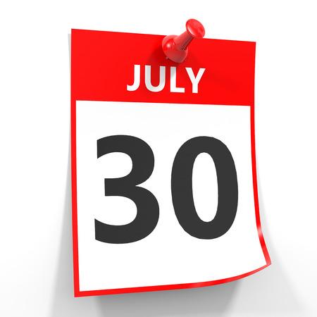calendario julio: 30 hoja de calendario de julio con la clavija roja sobre fondo blanco. Ilustración.