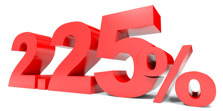 price hit: Red two point two five percent off. Discount 2.25 percent. 3D illustration.