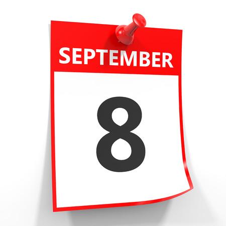 september calendar: 8 september calendar sheet with red pin on white background. Illustration. Stock Photo