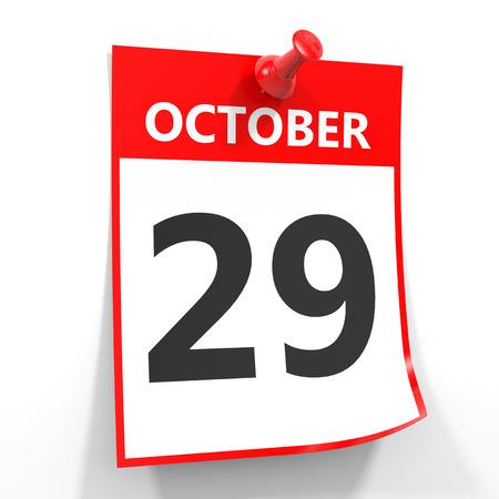 october calendar: 29 hoja de calendario octubre con el pin rojo sobre fondo blanco. Ilustración.