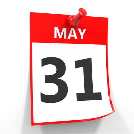 31th: 31 may calendar sheet with red pin on white background. Illustration. Stock Photo