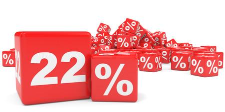 twenty two: Red sale cubes. Twenty two percent discount. 3D illustration. Stock Photo