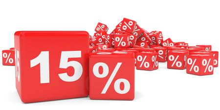 fifteen: Red sale cubes. Fifteen percent discount. 3D illustration.