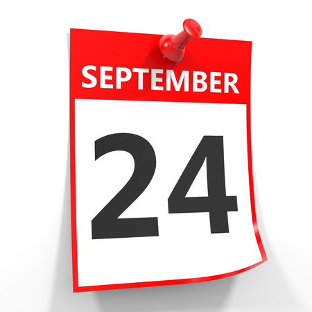 24 september calendar sheet with red pin on white background. Illustration.