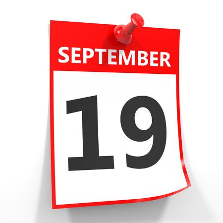 september calendar: 19 september calendar sheet with red pin on white background. Illustration. Stock Photo