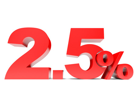Red two point five percent off. Discount 2.5 percent. 3D illustration.