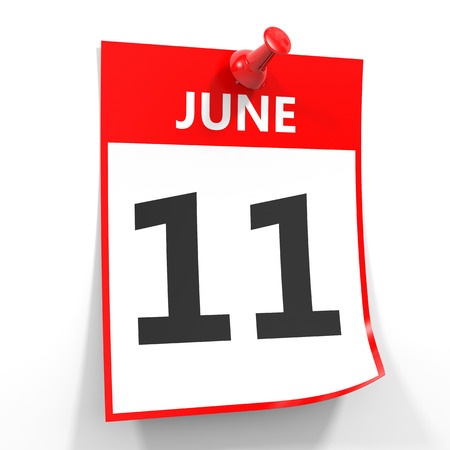 eleventh: 11 june calendar sheet with red pin on white background. Illustration.