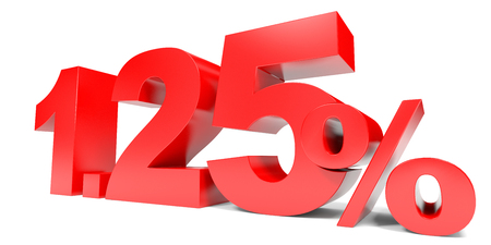 selling points: Red zero point two five percent off. Discount 1.25 percent. 3D illustration.