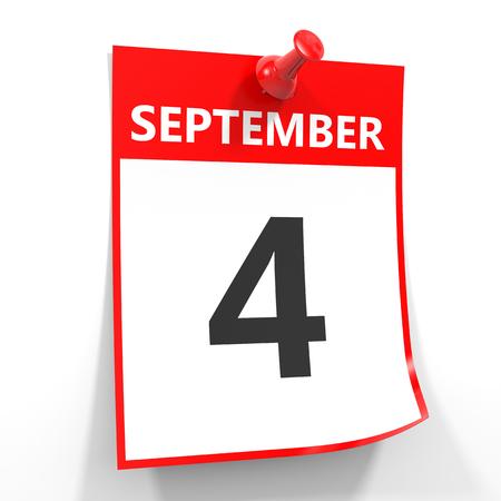 4 september calendar sheet with red pin on white background. Illustration.