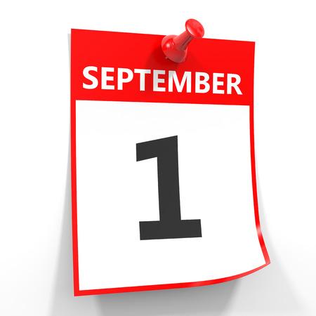 september calendar: 1 september calendar sheet with red pin on white background. Illustration.