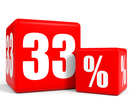 thirty: Red sale cubes. Thirty three percent discount. 3D illustration.