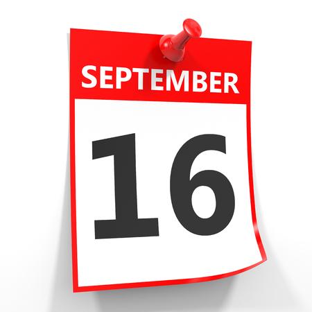 16: 16 september calendar sheet with red pin on white background. Illustration.