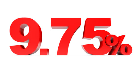 price hit: Red nine point seven five percent off. Discount 9.75 percent. 3D illustration. Stock Photo