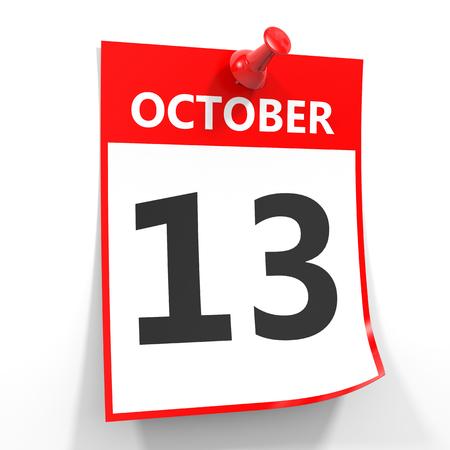 calendario octubre: 13 hoja de calendario de octubre con la clavija roja sobre fondo blanco. Ilustraci�n.