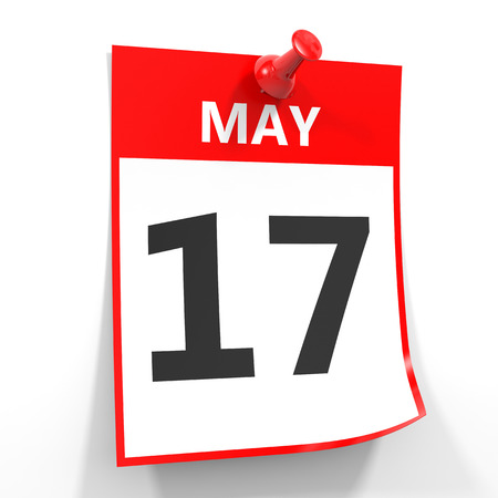 17: 17 may calendar sheet with red pin on white background. Illustration.