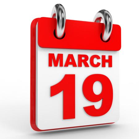 19: 19 march calendar on white background. 3D Illustration. Stock Photo