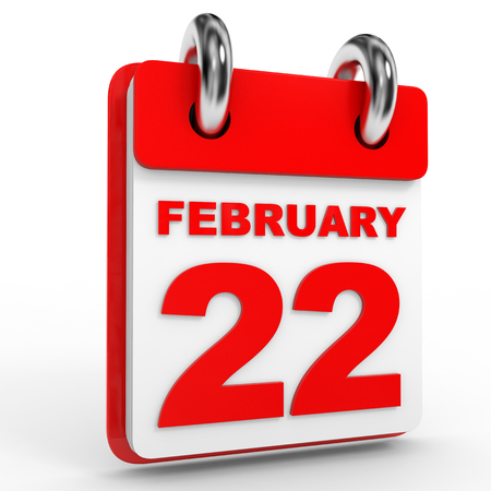 twenty second: 22 february calendar on white background. 3D Illustration.