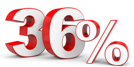 36 6: Discount 36 percent off. 3D illustration. Stock Photo